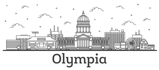 Wall Mural - Outline Olympia Washington City Skyline with Modern Buildings Isolated on White.