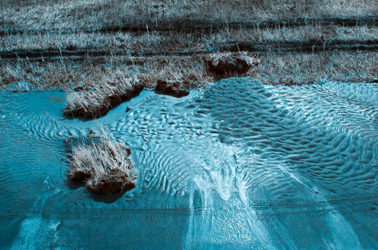 damaged dam at the danube river after a big flood, infrared recording