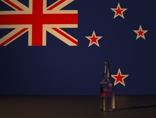 COVID 19 virus vaccine against the backdrop of the New Zealand flag. Close-up.