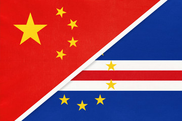 Foto auf AluDibond Rot kubanischen China or PRC vs Cape Verde national flag from textile. Relationship between Asian and African countries.