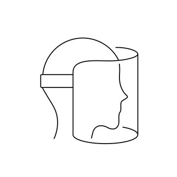 Face shield line icon. Full face cover visor outline. Medical protective shield mask with head. Covid 19 personal protection. Black sign on white background. Vector illustration, flat style, clip art.