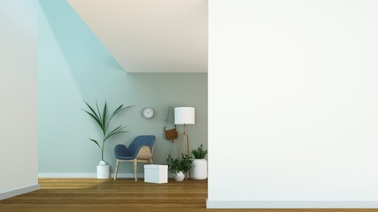 Wall Mural - Relax space interior minimal and wall decoration empty in apartment- 3D rendering