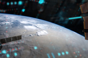 Wall Mural - View of planet Earth from a space station window during a sunrise 3D rendering elements of this image furnished by NASA