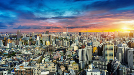 Fotomurales - Panorama of Tokyo cityscape at sunset in Japan.