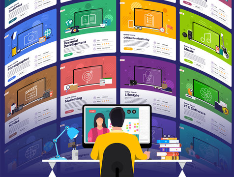 Illustrations flat design concept online education. E-learning course study form home. Vector illustrate.