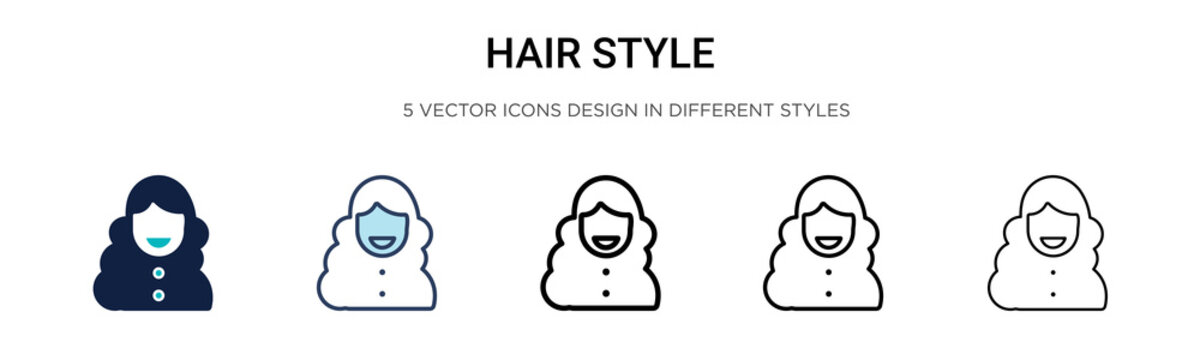 Hair style icon in filled, thin line, outline and stroke style. Vector illustration of two colored and black hair style vector icons designs can be used for mobile, ui, web