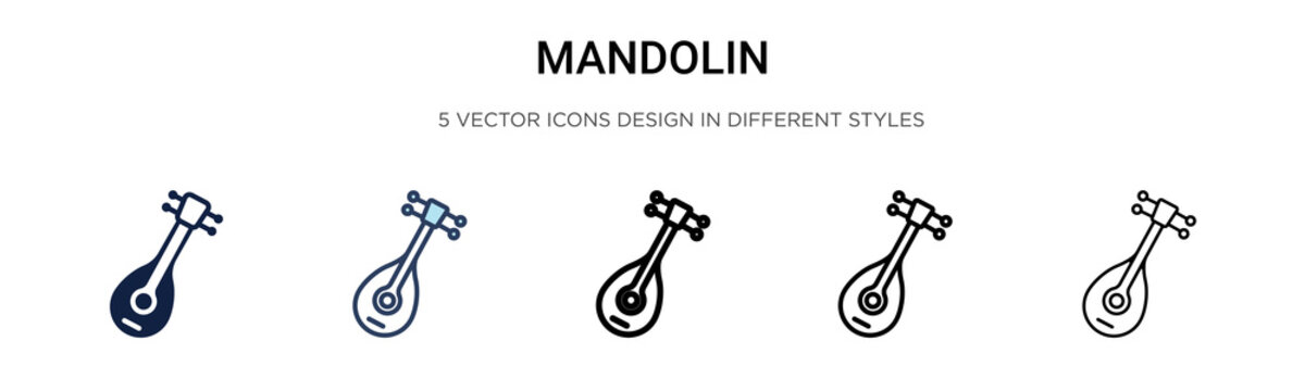 Mandolin icon in filled, thin line, outline and stroke style. Vector illustration of two colored and black mandolin vector icons designs can be used for mobile, ui, web