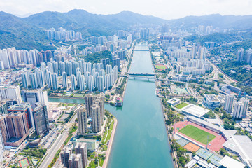Fototapete - Aerial view of Sha Tin district. New territories in Hong Kong, daytime