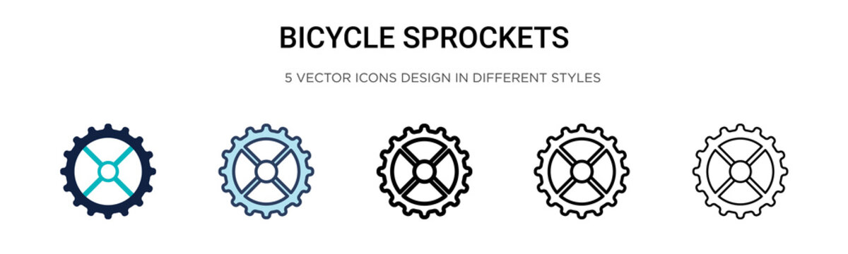 Bicycle sprockets icon in filled, thin line, outline and stroke style. Vector illustration of two colored and black bicycle sprockets vector icons designs can be used for mobile, ui, web