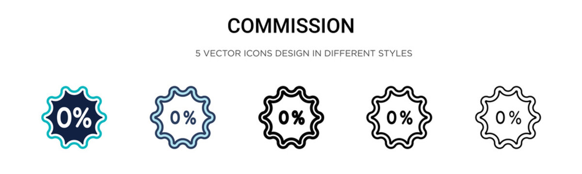 Commission icon in filled, thin line, outline and stroke style. Vector illustration of two colored and black commission vector icons designs can be used for mobile, ui, web
