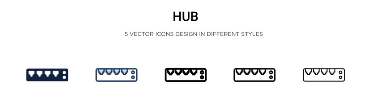 Hub icon in filled, thin line, outline and stroke style. Vector illustration of two colored and black hub vector icons designs can be used for mobile, ui, web