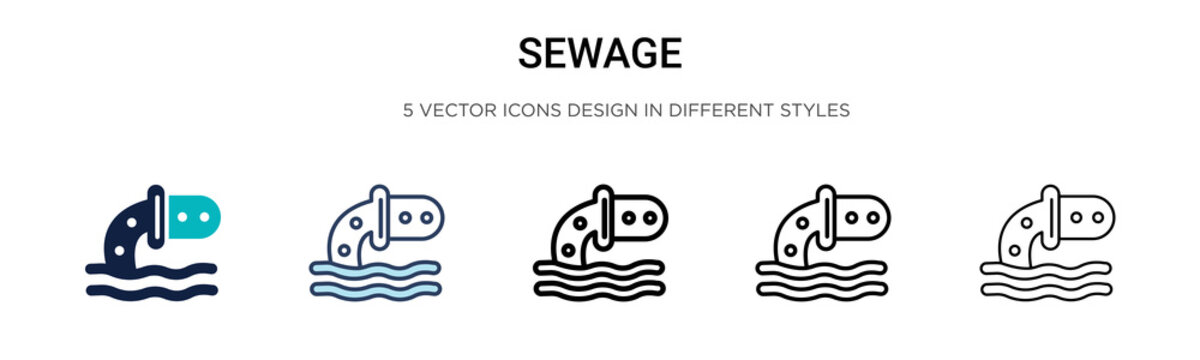 Sewage icon in filled, thin line, outline and stroke style. Vector illustration of two colored and black sewage vector icons designs can be used for mobile, ui, web