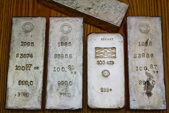 Assortment of 100 Ounce Silver Bullion Bars - Precious Metals