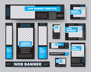 Wall Mural - Template of black web banners, with place for photo, with blue geometric elements, for presentation design.