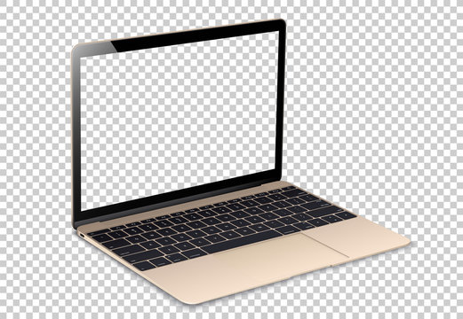 Laptop screen mockup. Open Laptop gold color with blank screens for you design. Realistic vector illustration.