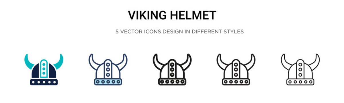 Viking helmet icon in filled, thin line, outline and stroke style. Vector illustration of two colored and black viking helmet vector icons designs can be used for mobile, ui, web
