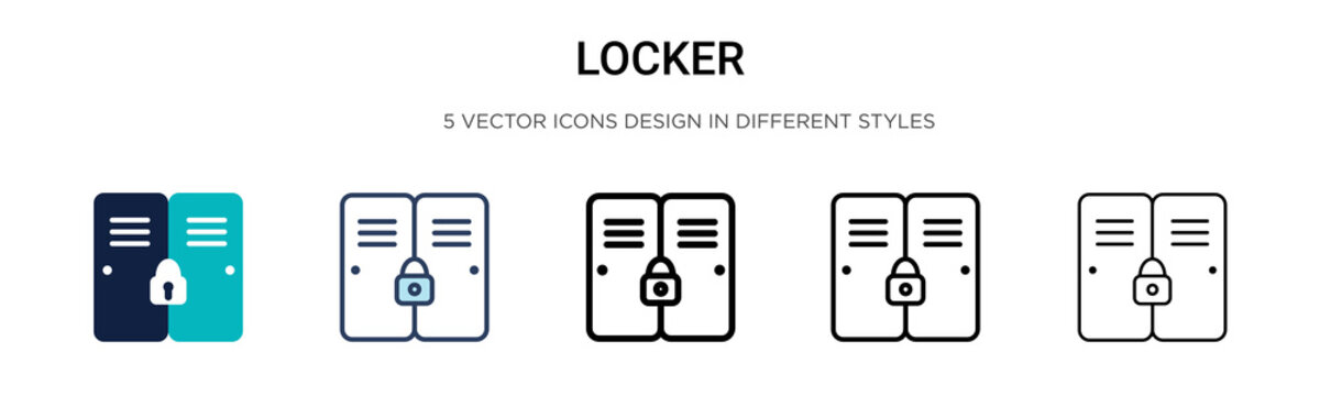 Locker icon in filled, thin line, outline and stroke style. Vector illustration of two colored and black locker vector icons designs can be used for mobile, ui, web