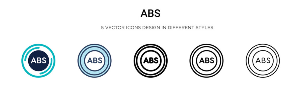 Abs icon in filled, thin line, outline and stroke style. Vector illustration of two colored and black abs vector icons designs can be used for mobile, ui, web