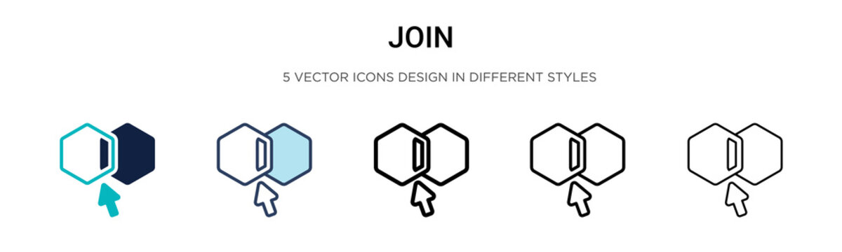 Join icon in filled, thin line, outline and stroke style. Vector illustration of two colored and black join vector icons designs can be used for mobile, ui, web
