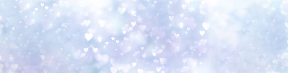Fototapete - Abstract blue pink background banner with hearts - concept mother's day, father's day, love or christmas and winter sky