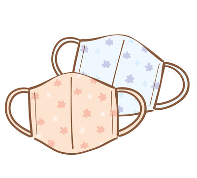 Illustration of handmade cloth face mask. In Japan, handmade products are increasing due to the lack of masks due to the impact of COVID-19.