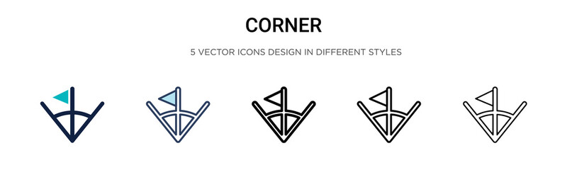 Corner icon in filled, thin line, outline and stroke style. Vector illustration of two colored and black corner vector icons designs can be used for mobile, ui, web