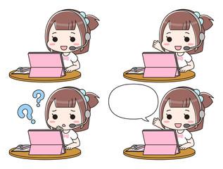 タブレットでオンライン授業を受ける女の子