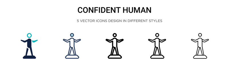 Confident human icon in filled, thin line, outline and stroke style. Vector illustration of two colored and black confident human vector icons designs can be used for mobile, ui, web