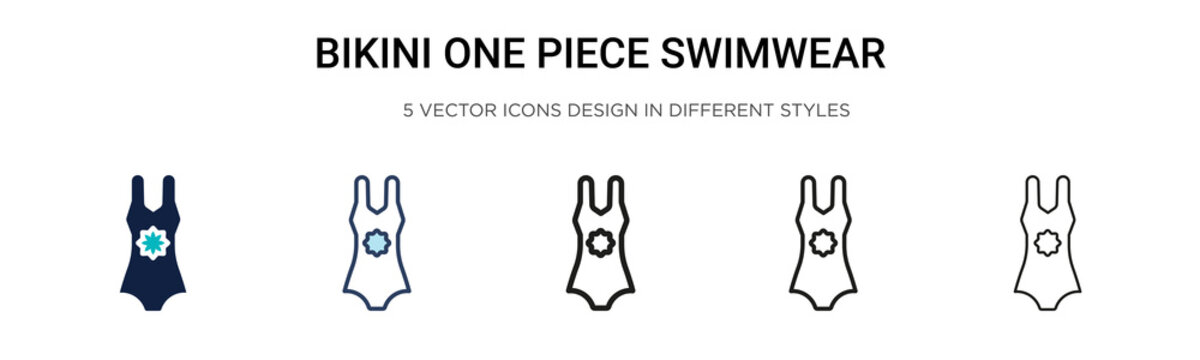 Bikini one piece swimwear icon in filled, thin line, outline and stroke style. Vector illustration of two colored and black bikini one piece swimwear vector icons designs