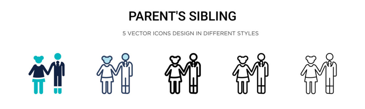 Parent's sibling icon in filled, thin line, outline and stroke style. Vector illustration of two colored and black parent's sibling vector icons designs can be used for mobile, ui, web