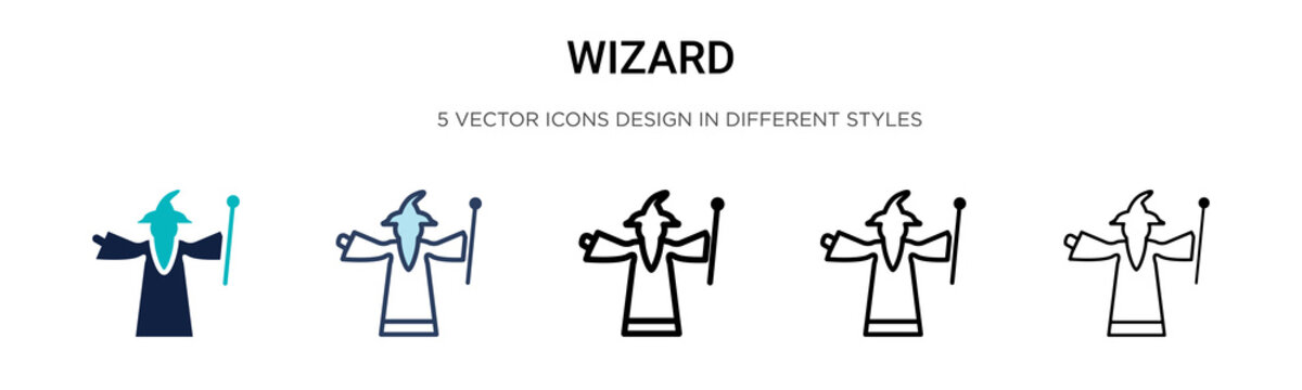 Wizard icon in filled, thin line, outline and stroke style. Vector illustration of two colored and black wizard vector icons designs can be used for mobile, ui, web