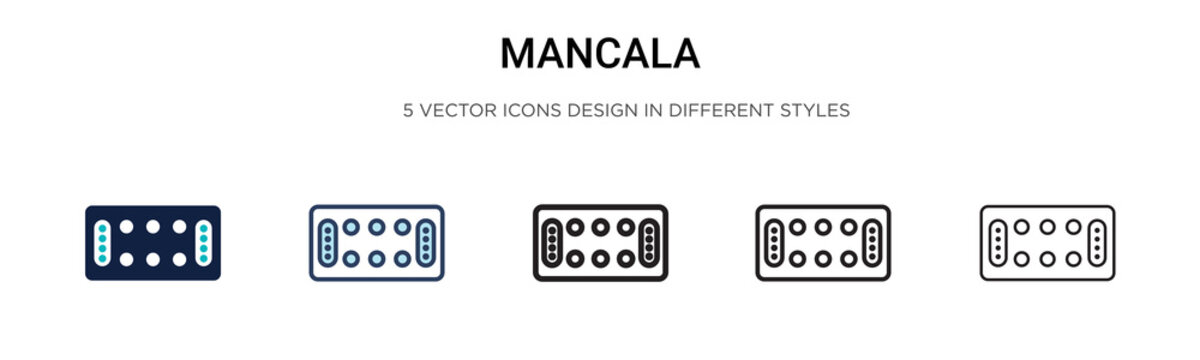 Mancala icon in filled, thin line, outline and stroke style. Vector illustration of two colored and black mancala vector icons designs can be used for mobile, ui, web