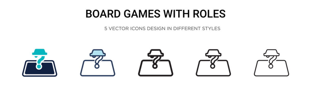 Board games with roles icon in filled, thin line, outline and stroke style. Vector illustration of two colored and black board games with roles vector icons designs can be used for mobile, ui, web