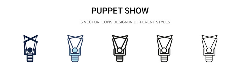 Puppet show icon in filled, thin line, outline and stroke style. Vector illustration of two colored and black puppet show vector icons designs can be used for mobile, ui, web