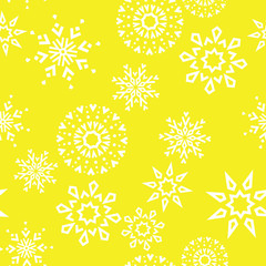 Fotorolgordijn Geometrisch Abstract geometric pattern with lines, snowflakes. A seamless vector background. White and yellow texture. Graphic modern pattern