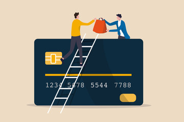 Electronic payment for online shopping, credit or debit card payment order via e-commerce website concept, customer on ladder above credit card get all shopping bags from shop owner, online payment