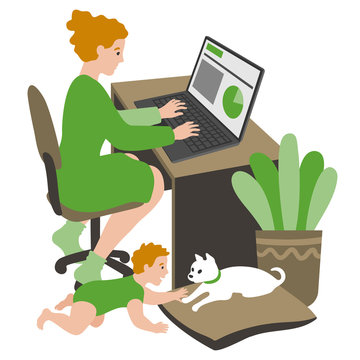 Young mom working from home. A Millennial Generation woman working on a laptop, with a baby crawling on the floor playing with a small puppy.