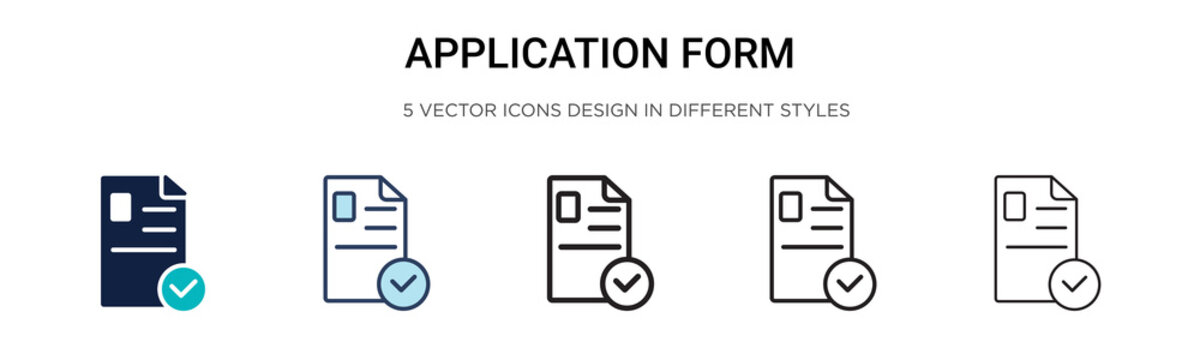 Application form icon in filled, thin line, outline and stroke style. Vector illustration of two colored and black application form vector icons designs can be used for mobile, ui, web