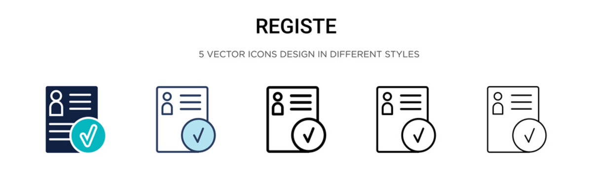 Registered icon in filled, thin line, outline and stroke style. Vector illustration of two colored and black registered vector icons designs can be used for mobile, ui, web