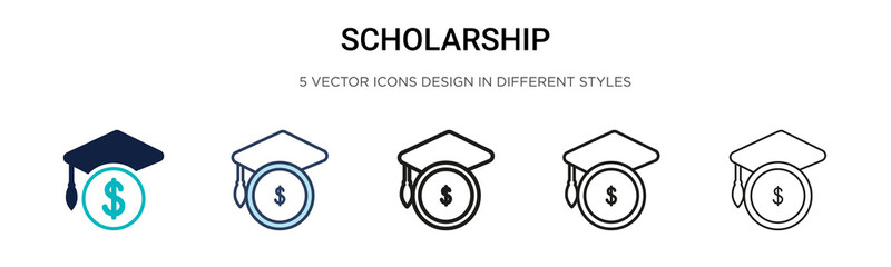 Scholarship icon in filled, thin line, outline and stroke style. Vector illustration of two colored and black scholarship vector icons designs can be used for mobile, ui, web