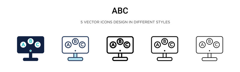 Abc icon in filled, thin line, outline and stroke style. Vector illustration of two colored and black abc vector icons designs can be used for mobile, ui, web Wall mural