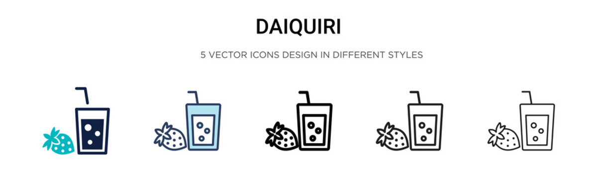 Daiquiri icon in filled, thin line, outline and stroke style. Vector illustration of two colored and black daiquiri vector icons designs can be used for mobile, ui, web