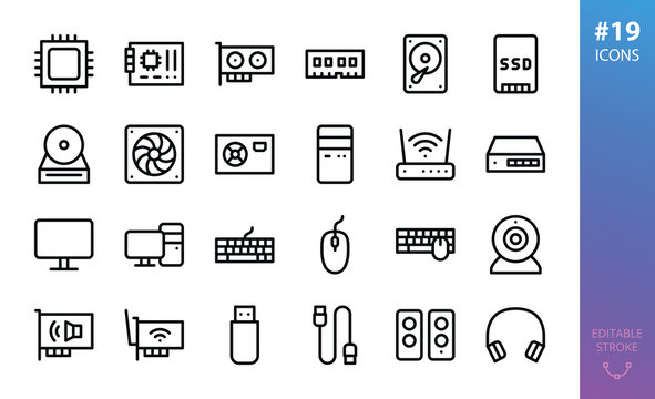 PC Hardware isolated icons set. Set of CPU, mainboard, GPU graphics card, memory, hard drive, SSD, PC case, wifi router, lan switch, desktop computer, mouse, keyboard, webcam  outline vector icon