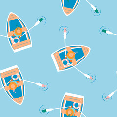 floating boat seamless pattern on blue background