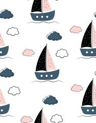 sailboats baby seamless pattern on white background