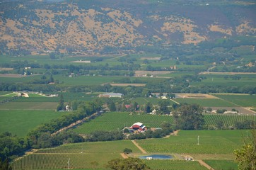 Aerial view towards famous wine growing Napa Valley California