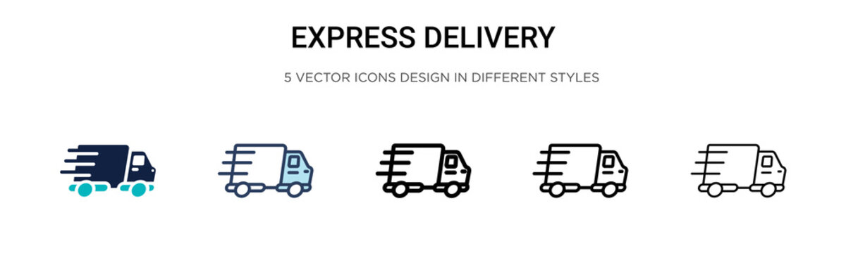 Express delivery icon in filled, thin line, outline and stroke style. Vector illustration of two colored and black express delivery vector icons designs can be used for mobile, ui, web