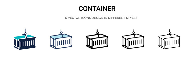 Obraz Container icon in filled, thin line, outline and stroke style. Vector illustration of two colored and black container vector icons designs can be used for mobile, ui, web - fototapety do salonu