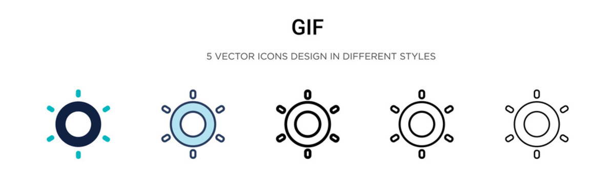 Gif icon in filled, thin line, outline and stroke style. Vector illustration of two colored and black gif vector icons designs can be used for mobile, ui, web