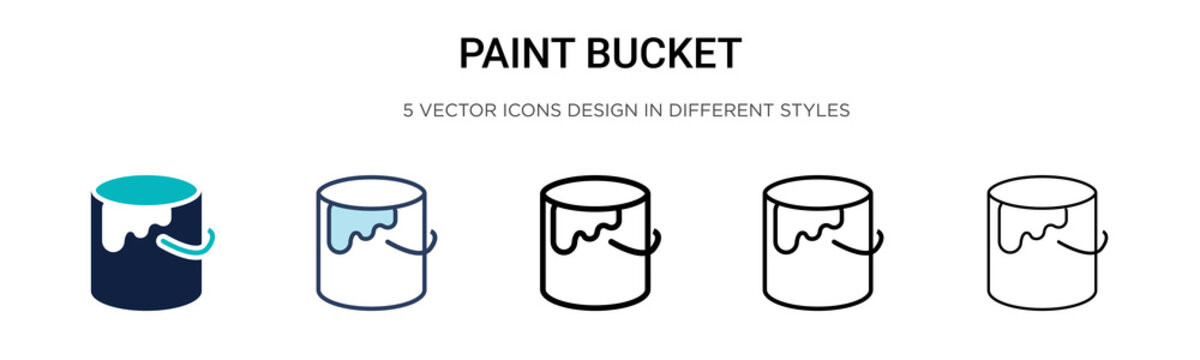 Paint bucket icon in filled, thin line, outline and stroke style. Vector illustration of two colored and black paint bucket vector icons designs can be used for mobile, ui, web